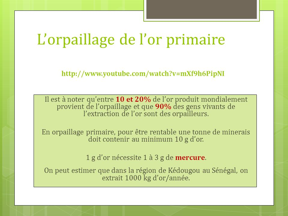 L'orpaillage de l'or primaire