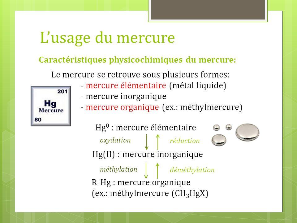 L'usage du mercure Caractéristiques physicochimiques du mercure: