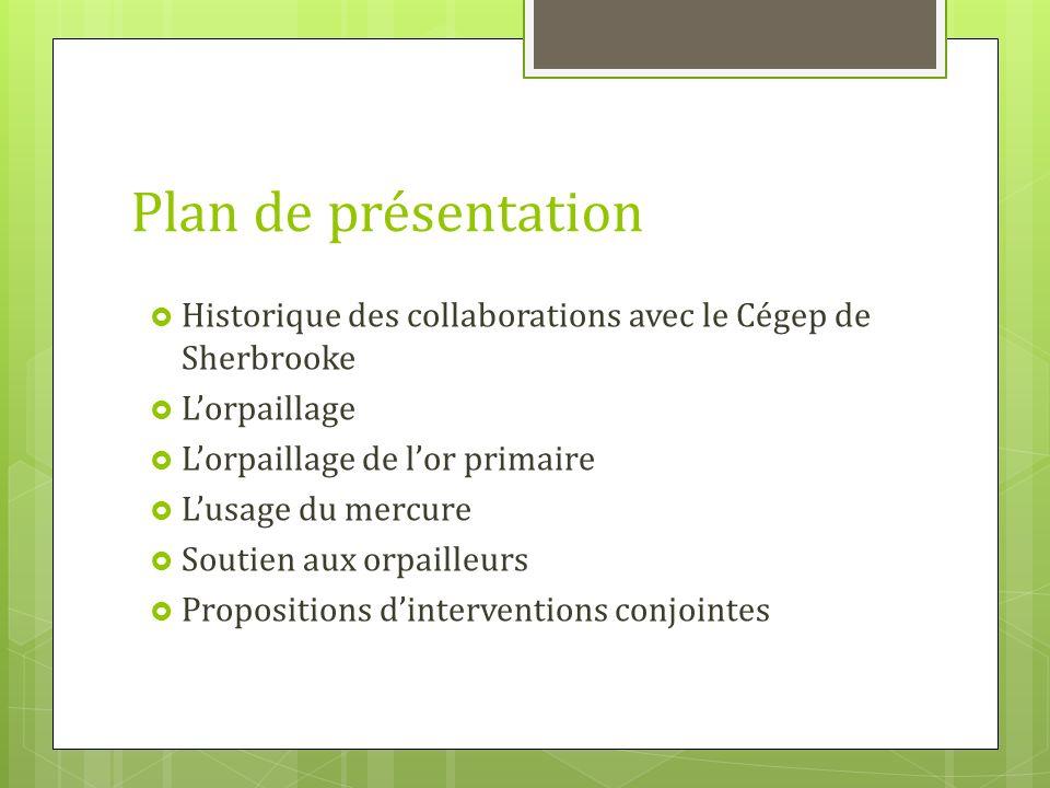 Plan de présentation Historique des collaborations avec le Cégep de Sherbrooke. L'orpaillage. L'orpaillage de l'or primaire.
