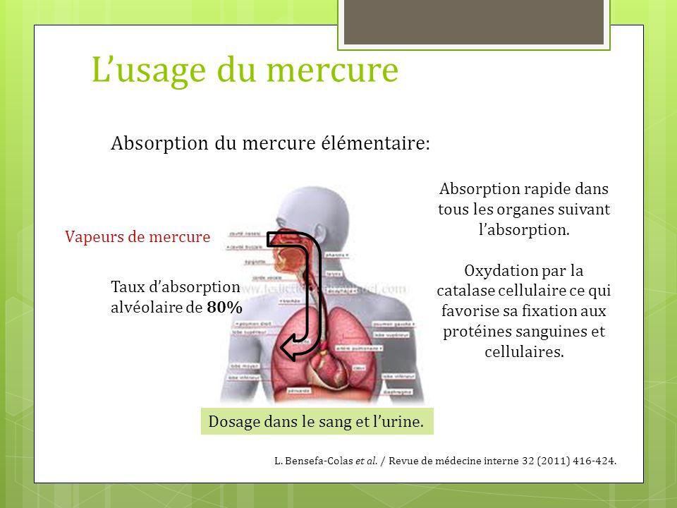 L'usage du mercure Absorption du mercure élémentaire: