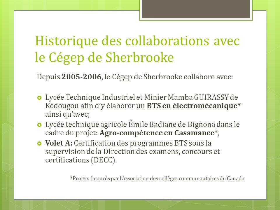 Historique des collaborations avec le Cégep de Sherbrooke