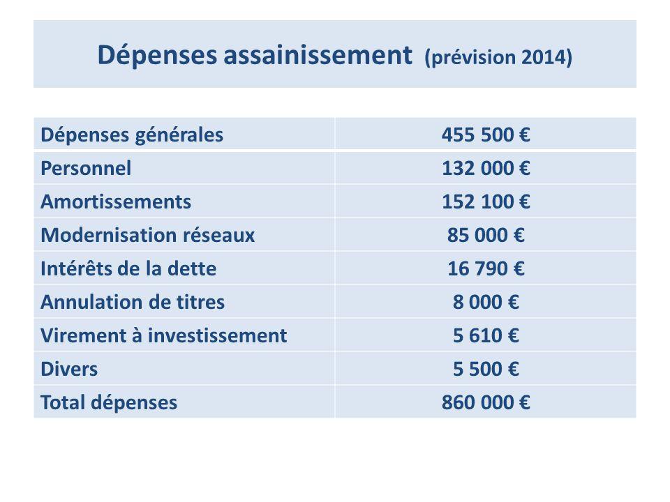 Dépenses assainissement (prévision 2014)