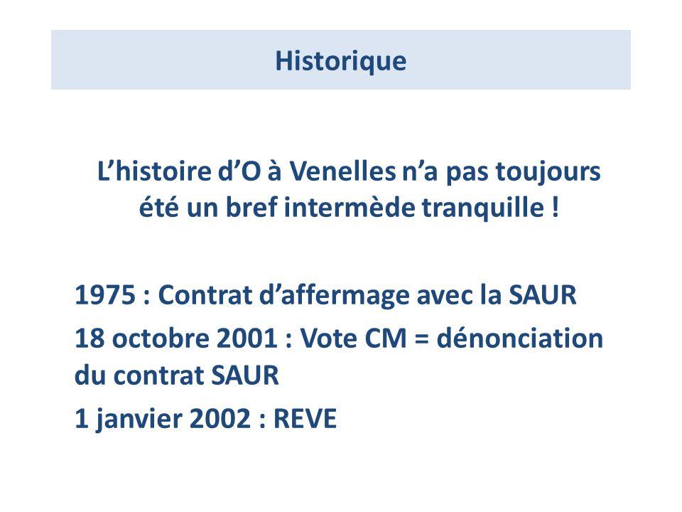 Historique L'histoire d'O à Venelles n'a pas toujours été un bref intermède tranquille ! 1975 : Contrat d'affermage avec la SAUR.