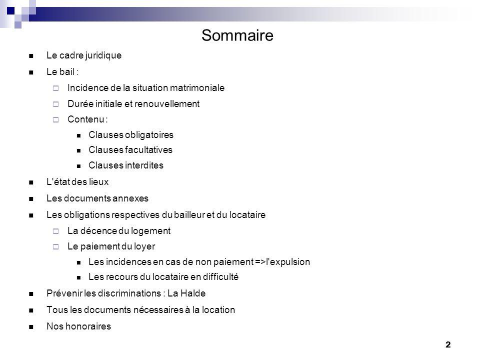Sommaire Le cadre juridique Le bail :