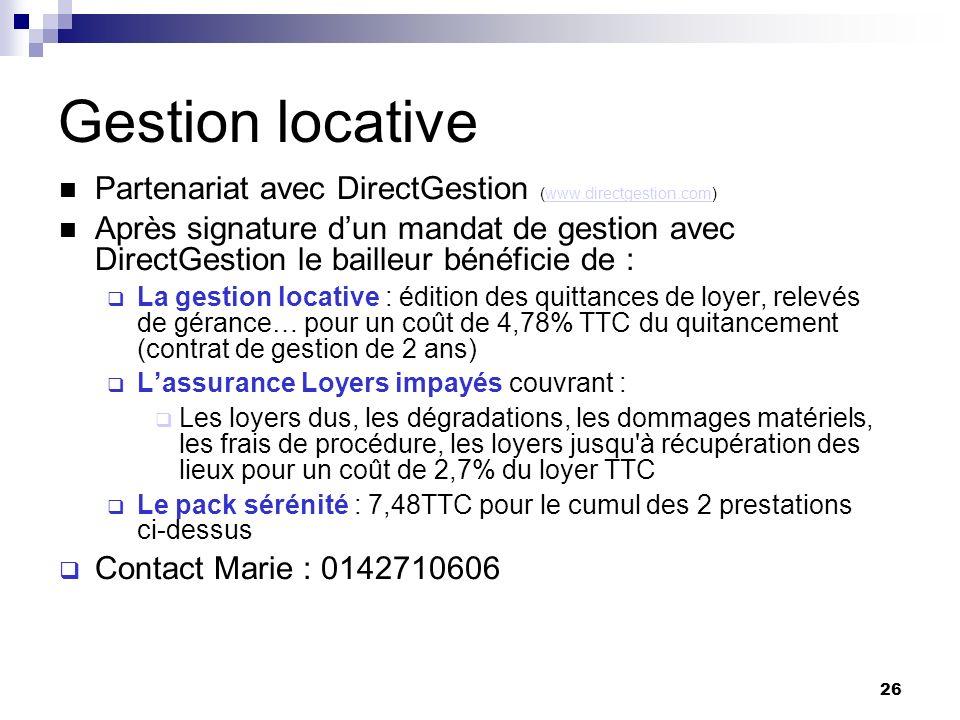 Gestion locative Partenariat avec DirectGestion (www.directgestion.com)