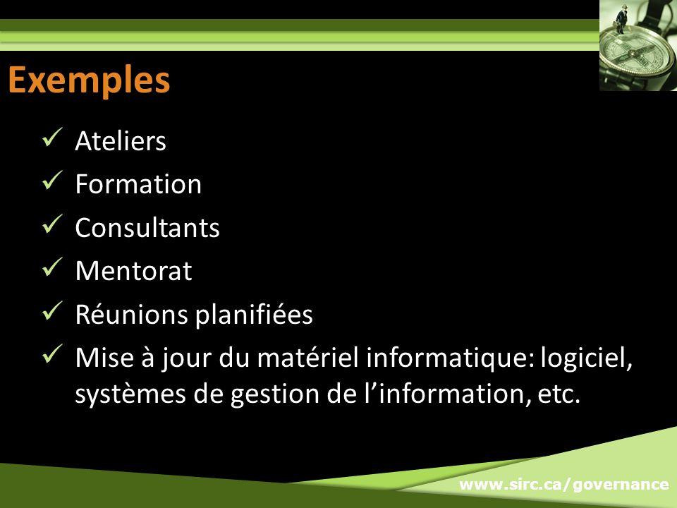 Exemples Exemples Ateliers Formation Consultants Mentorat