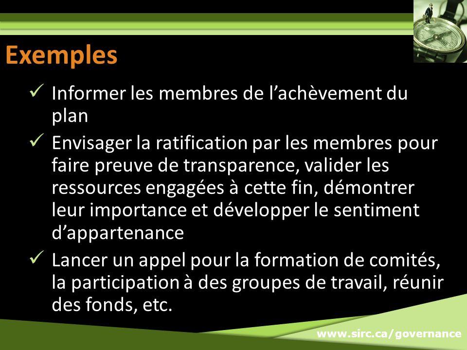 Exemples Exemples Informer les membres de l'achèvement du plan