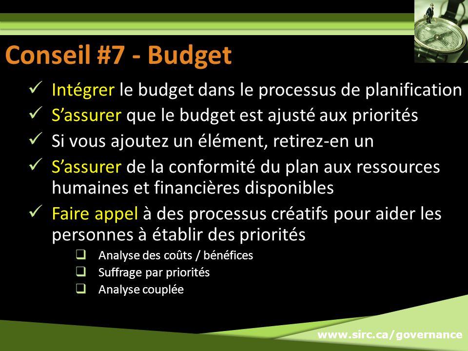 Conseil #7: Budget Conseil #7 - Budget