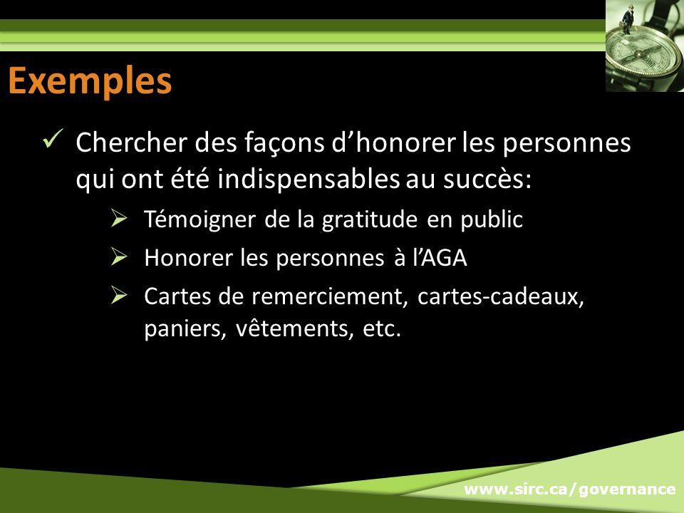 Exemples Exemples. Chercher des façons d'honorer les personnes qui ont été indispensables au succès: