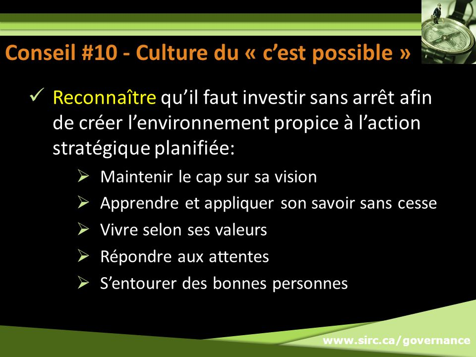 Conseil #10 - Culture du « c'est possible »