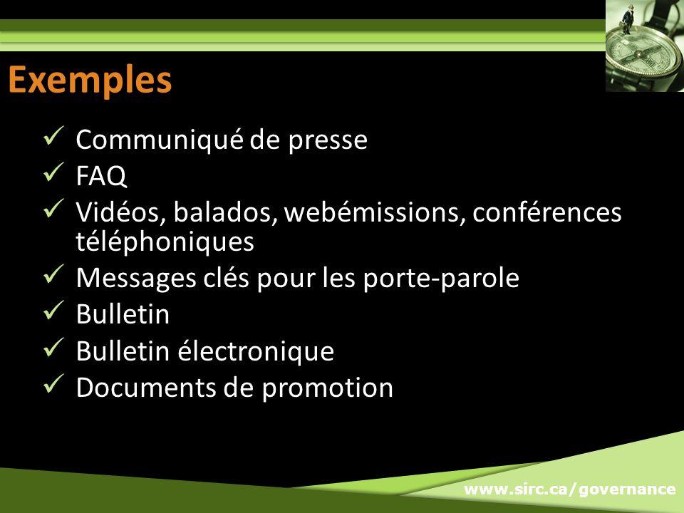 Exemples Exemples Communiqué de presse FAQ