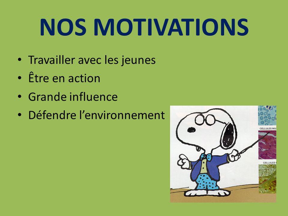 NOS MOTIVATIONS Travailler avec les jeunes Être en action