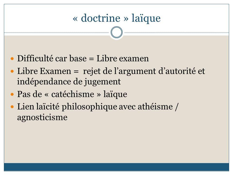 « doctrine » laïque Difficulté car base = Libre examen