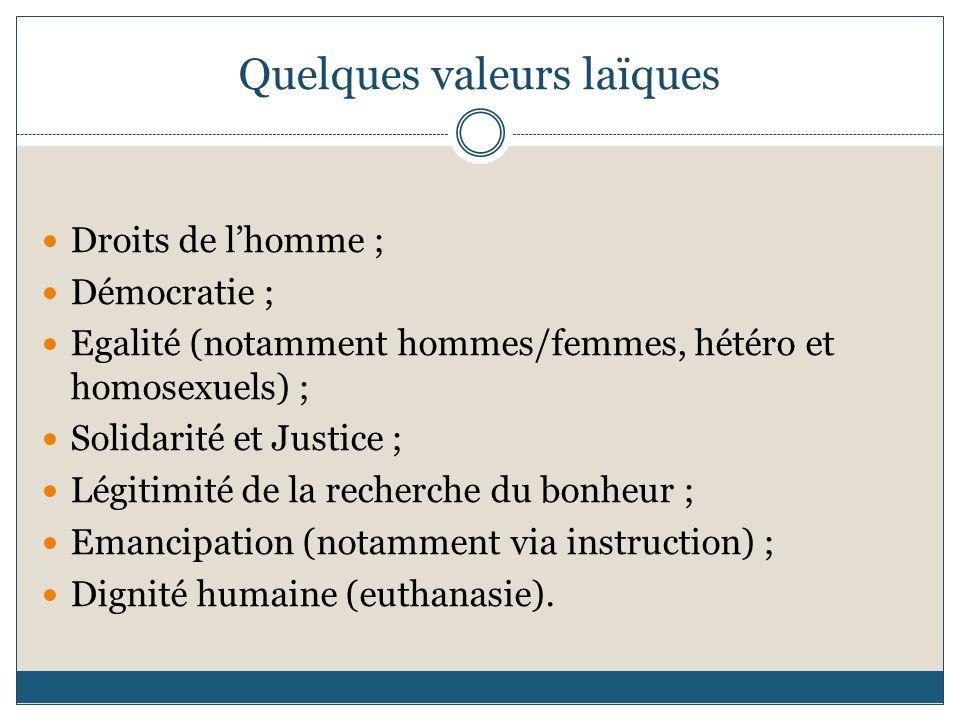 Quelques valeurs laïques