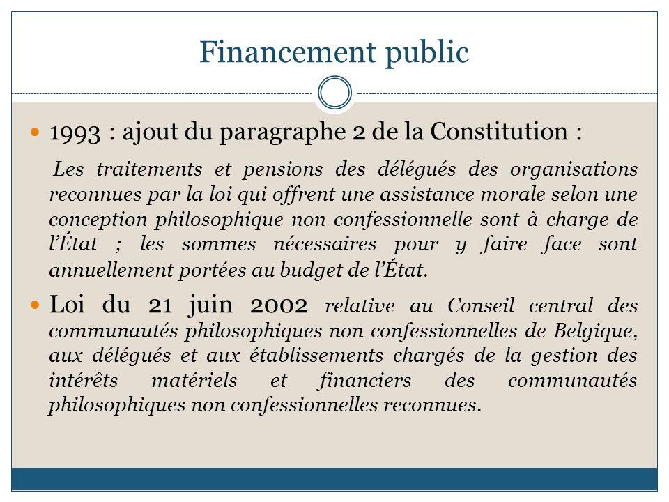Financement public 1993 : ajout du paragraphe 2 de la Constitution :