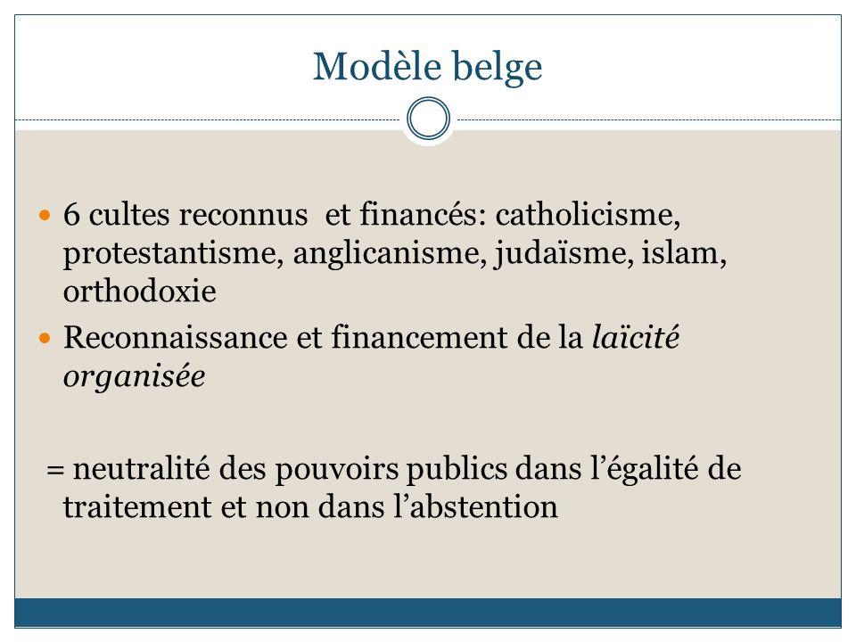 Modèle belge 6 cultes reconnus et financés: catholicisme, protestantisme, anglicanisme, judaïsme, islam, orthodoxie.