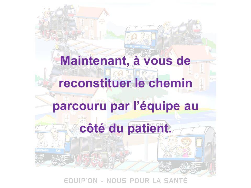Maintenant, à vous de reconstituer le chemin parcouru par l'équipe au côté du patient.