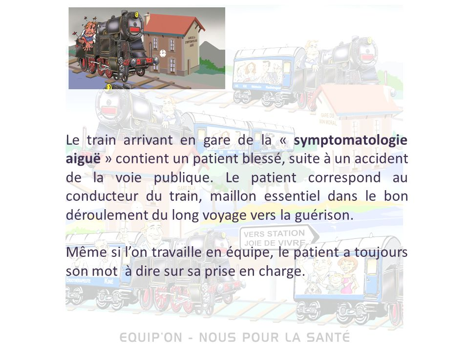 Le train arrivant en gare de la « symptomatologie aiguë » contient un patient blessé, suite à un accident de la voie publique. Le patient correspond au conducteur du train, maillon essentiel dans le bon déroulement du long voyage vers la guérison.