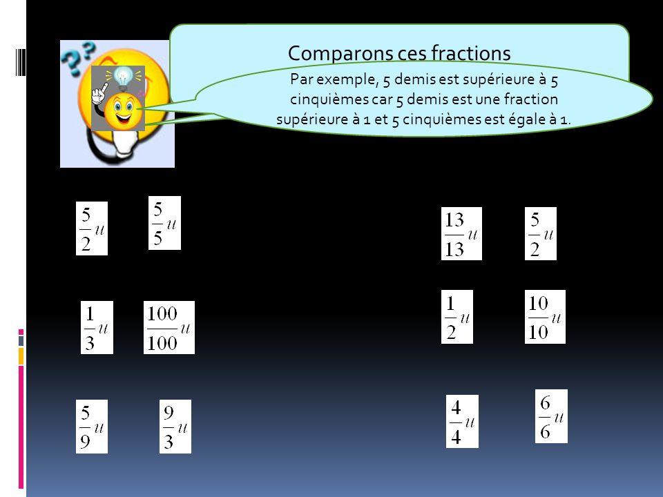 Comparons ces fractions en les comparant à l'unité.
