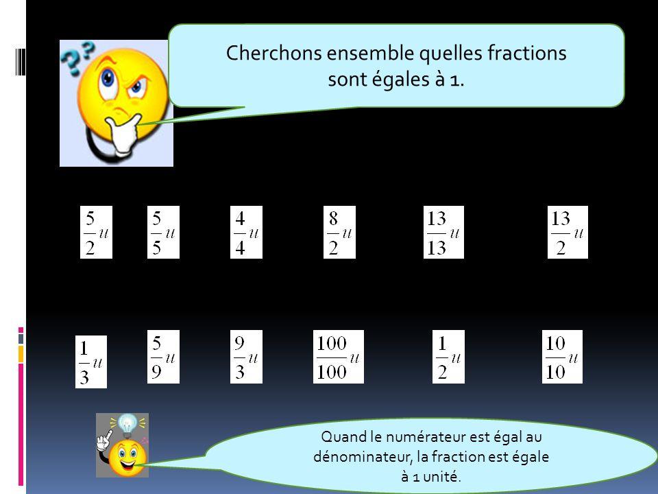 Cherchons ensemble quelles fractions sont égales à 1.