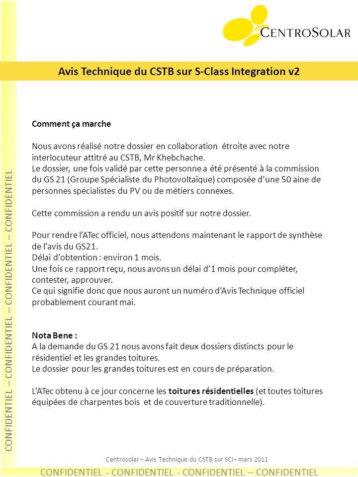 Avis Technique du CSTB sur S-Class Integration v2