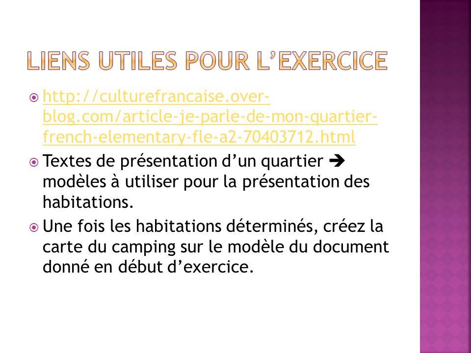 Liens utiles pour l'exercice