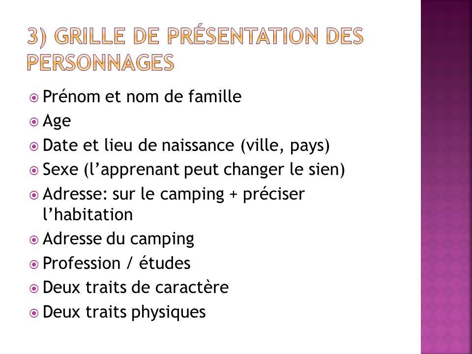 3) Grille de présentation des personnages