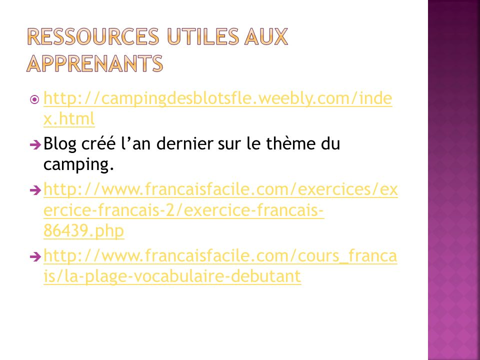 Ressources utiles aux apprenants