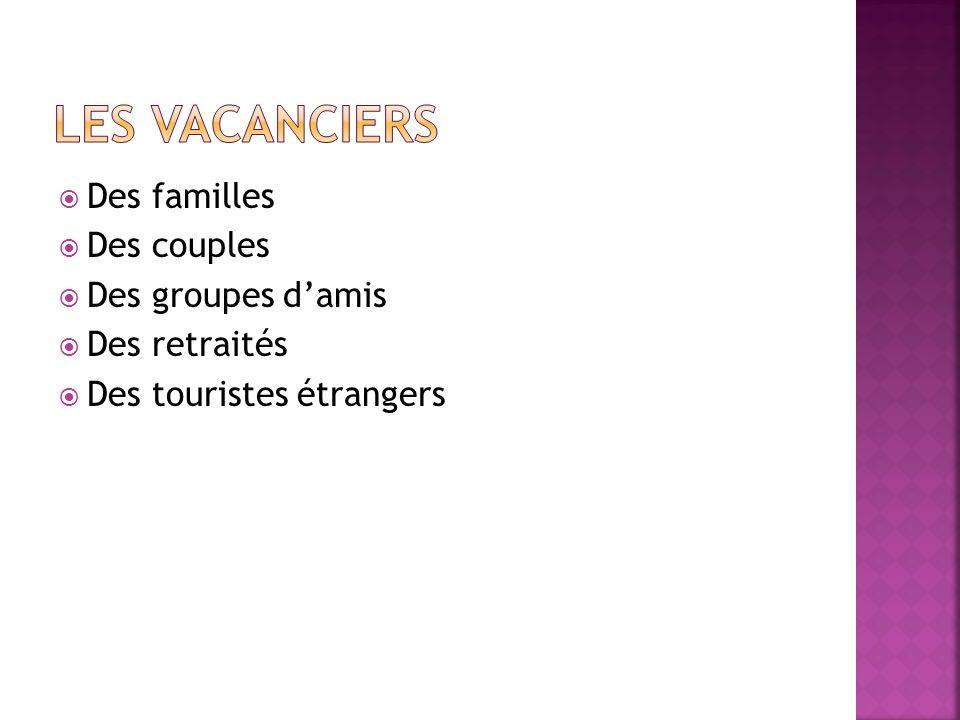 Les vacanciers Des familles Des couples Des groupes d'amis