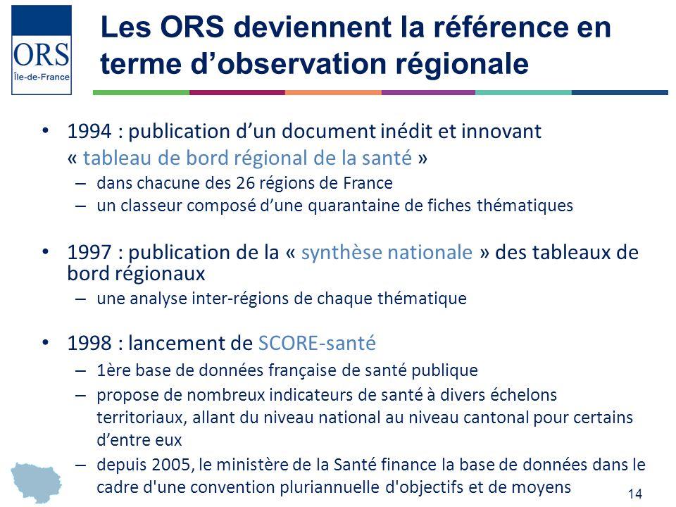 Les ORS deviennent la référence en terme d'observation régionale