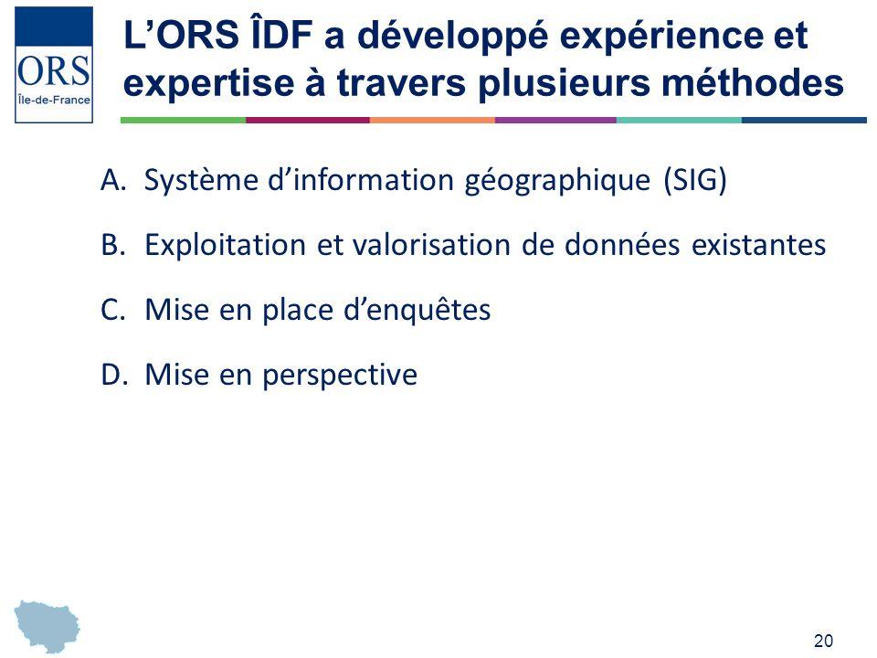 L'ORS ÎDF a développé expérience et expertise à travers plusieurs méthodes