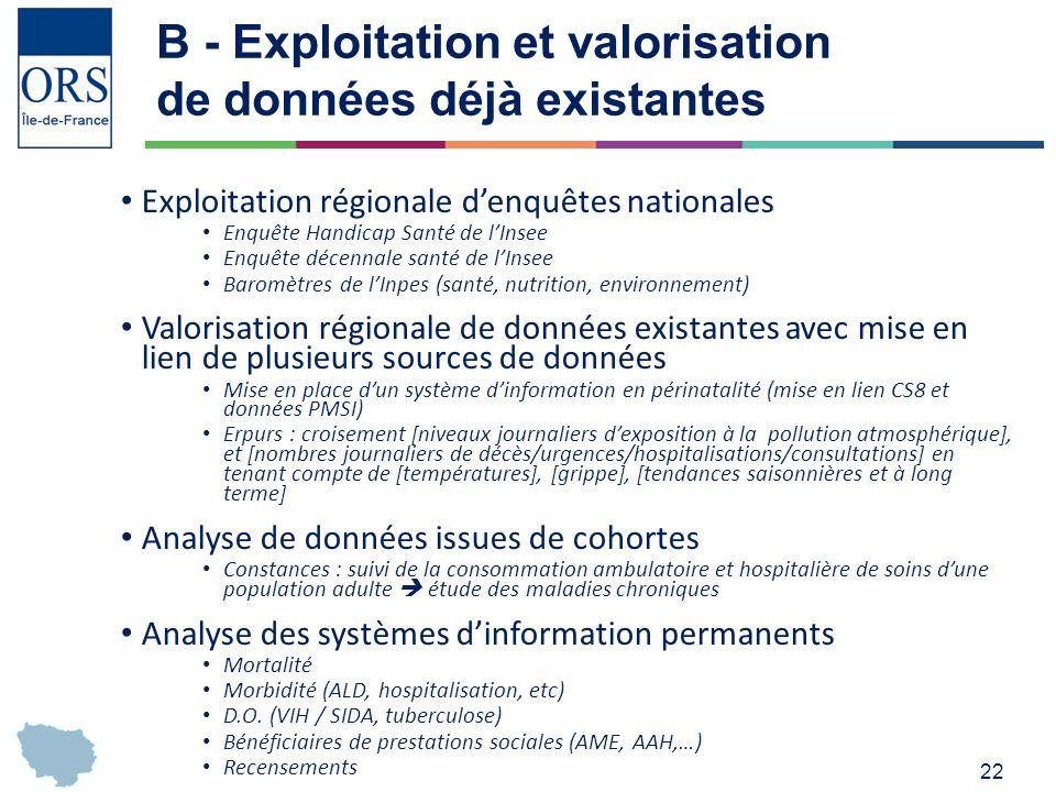 B - Exploitation et valorisation de données déjà existantes