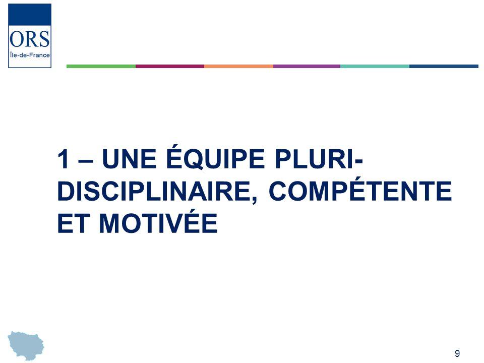 1 – Une équipe pluri-disciplinaire, compétente et motivée