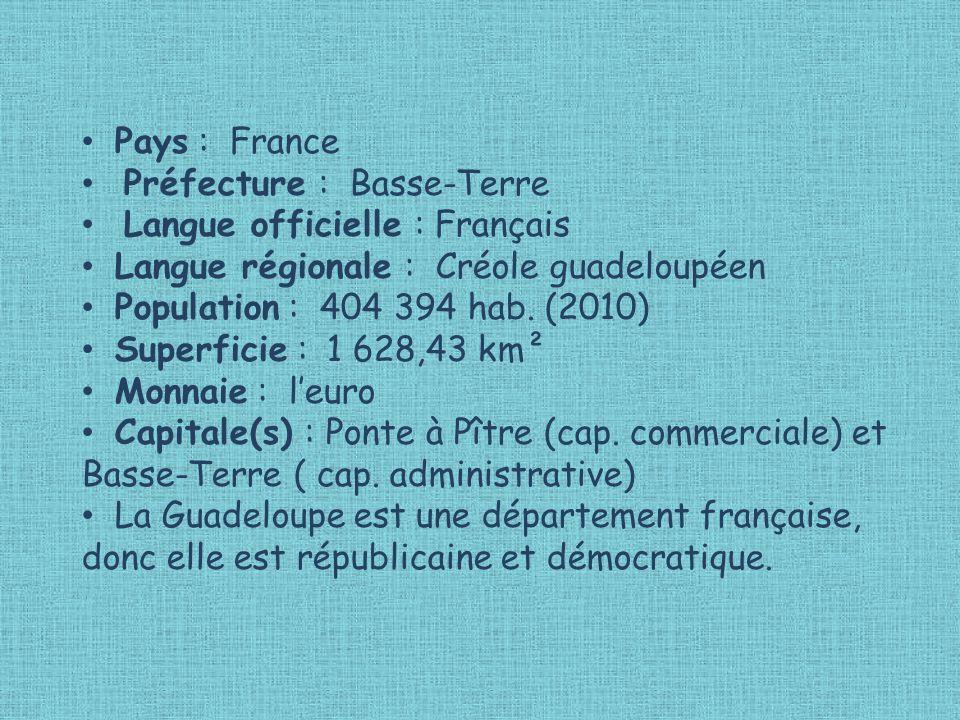 Pays : France Préfecture : Basse-Terre. Langue officielle : Français. Langue régionale : Créole guadeloupéen.
