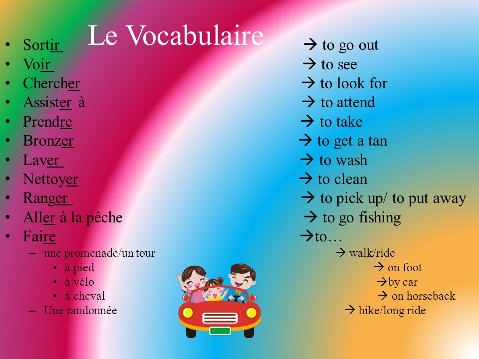 Le Vocabulaire Sortir  to go out Voir  to see Chercher  to look for