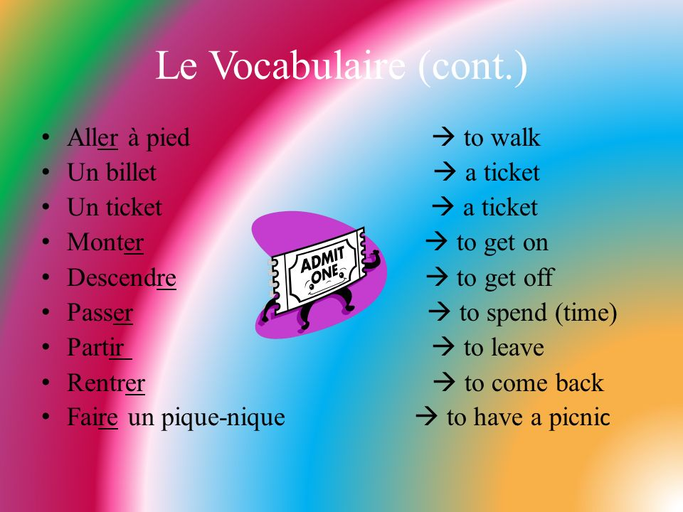 Le Vocabulaire (cont.) Aller à pied  to walk Un billet  a ticket