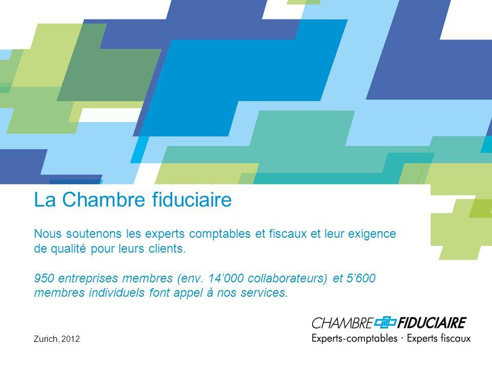 La Chambre fiduciaire Nous soutenons les experts comptables et fiscaux et leur exigence de qualité pour leurs clients. 950 entreprises membres (env. 14'000 collaborateurs) et 5'600 membres individuels font appel à nos services.