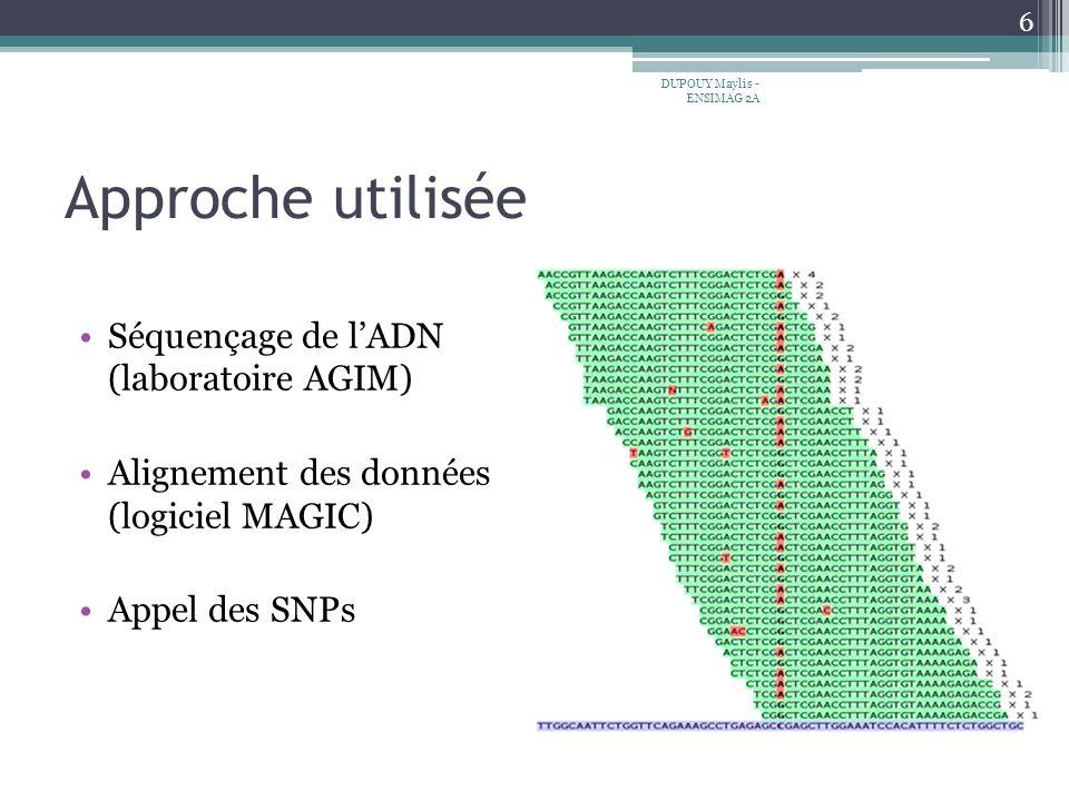 Approche utilisée Séquençage de l'ADN (laboratoire AGIM)