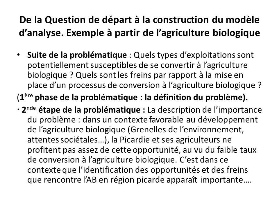 De la Question de départ à la construction du modèle d'analyse