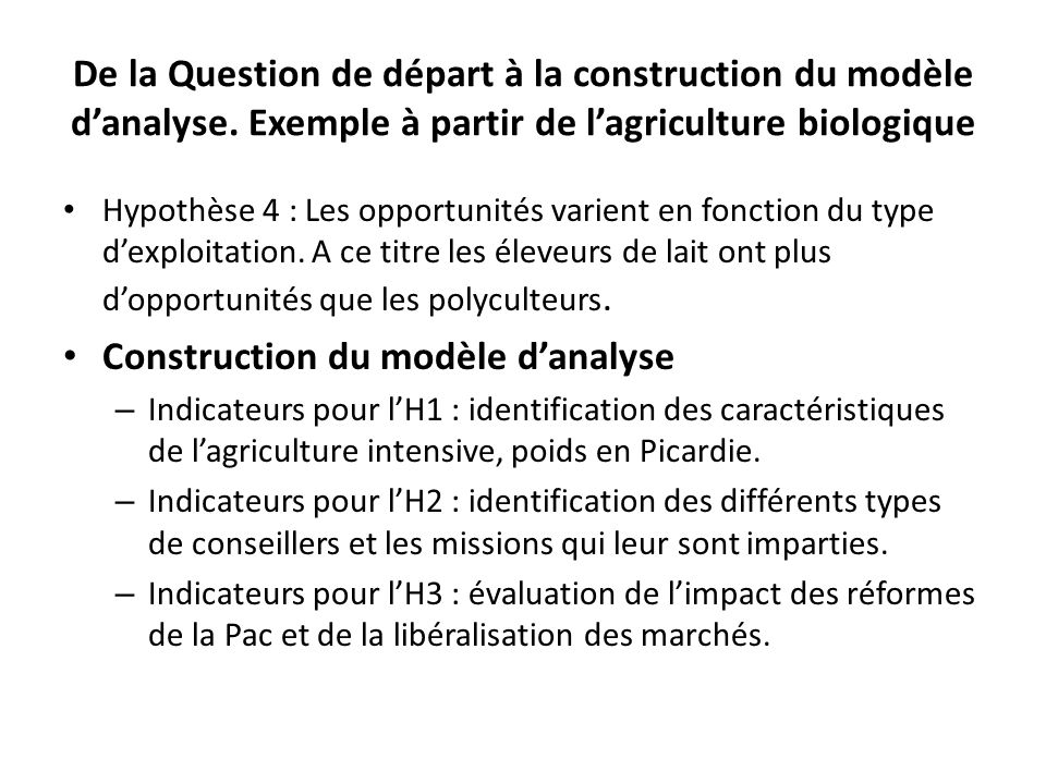Construction du modèle d'analyse