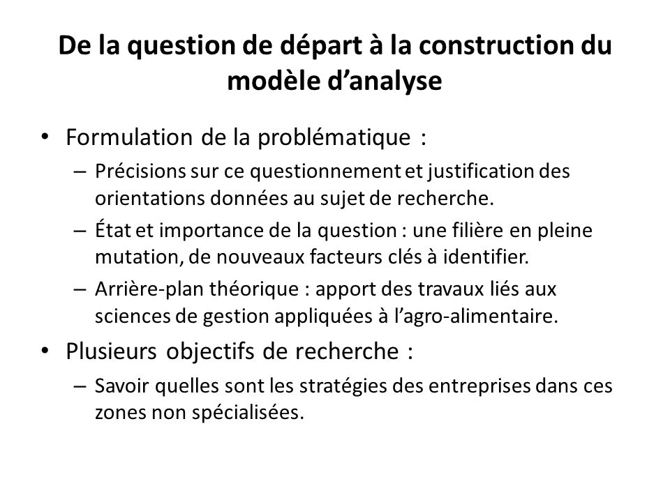 De la question de d part la probl matique ppt video for Analyse de sol construction