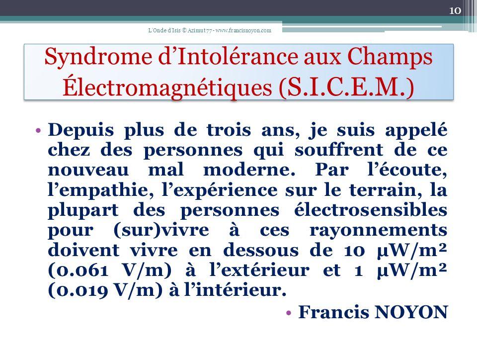 Syndrome d'Intolérance aux Champs Électromagnétiques (S.I.C.E.M.)
