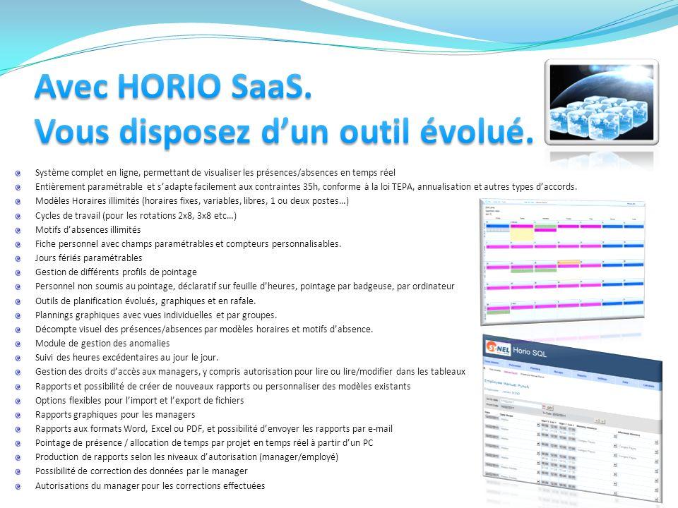 Avec HORIO SaaS. Vous disposez d'un outil évolué.