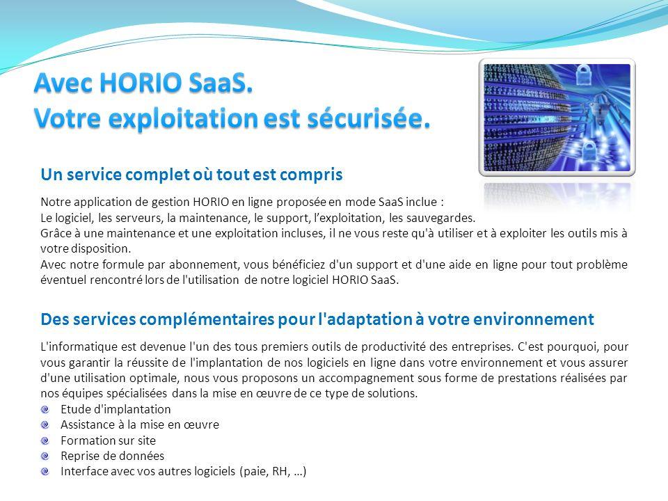 Avec HORIO SaaS. Votre exploitation est sécurisée.