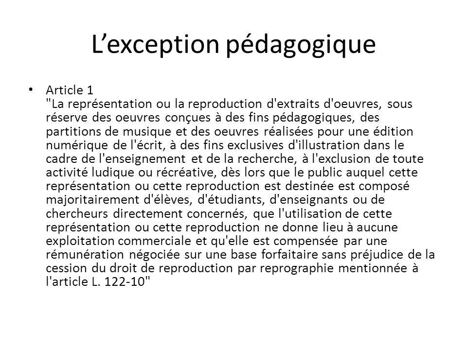 L'exception pédagogique