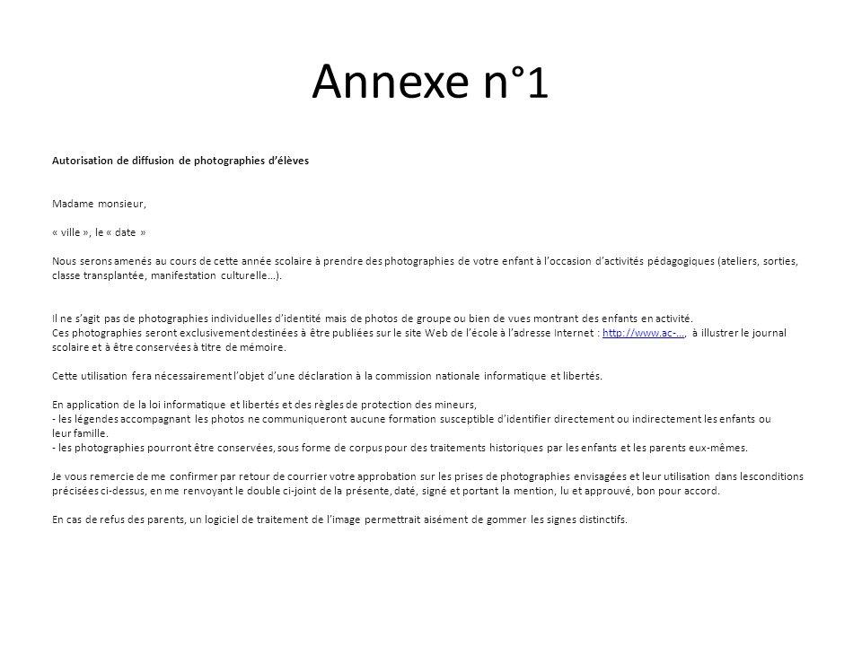 Annexe n°1 Autorisation de diffusion de photographies d'élèves