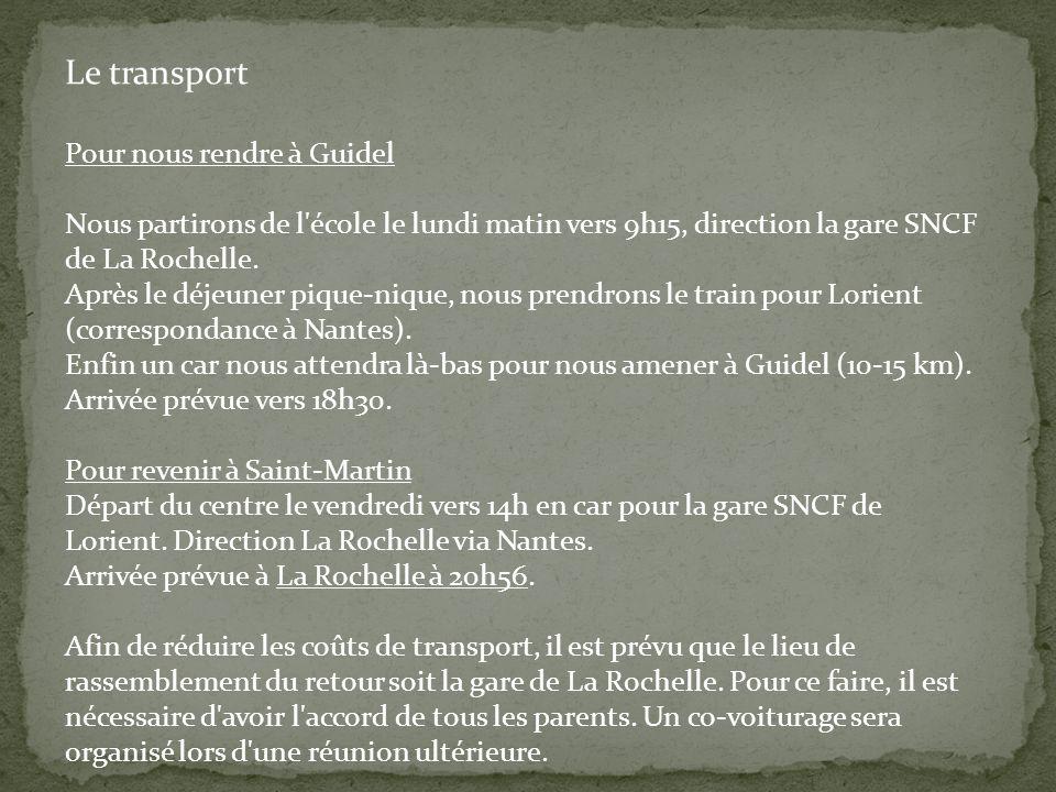 Le transport Pour nous rendre à Guidel