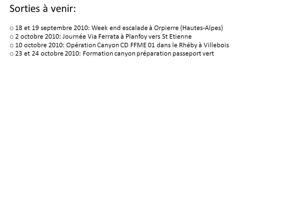 Sorties à venir: 18 et 19 septembre 2010: Week end escalade à Orpierre (Hautes-Alpes) 2 octobre 2010: Journée Via Ferrata à Planfoy vers St Etienne.