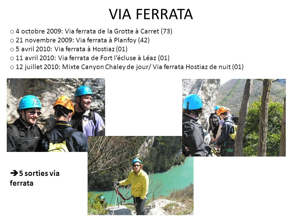 VIA FERRATA 5 sorties via ferrata