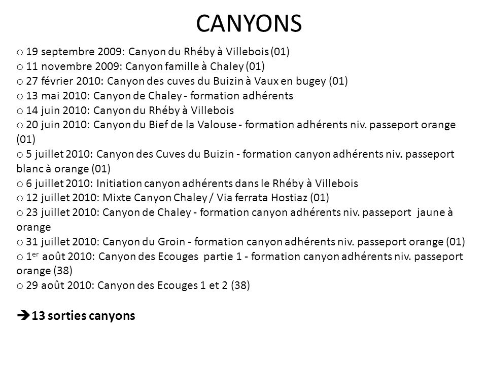 CANYONS 13 sorties canyons